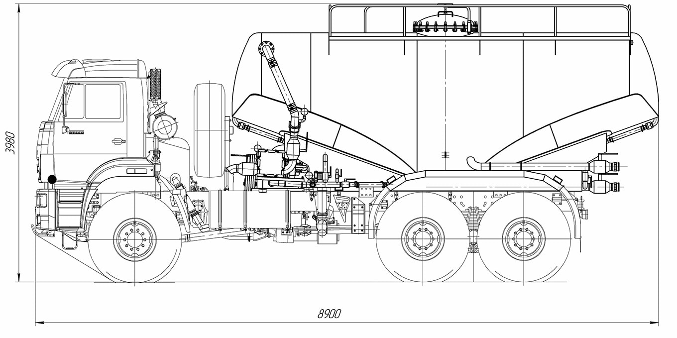 four wheel drive cement truck acv-17r1 left scheme